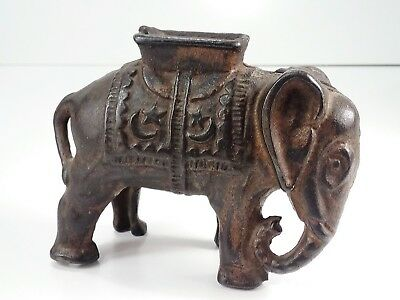 "Vintage Elephant Still Coin Bank /Cast Iron with ""Howdah"" Seat."