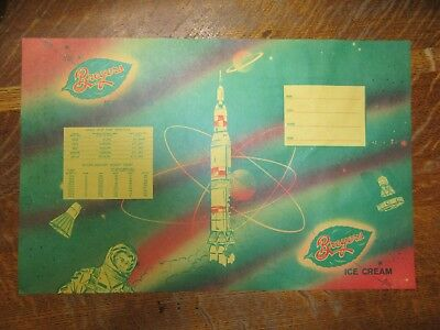 "Vintage BREYERS ICE CREAM School Book Cover/Poster-Space Ship Theme-18"" x 11.5"""