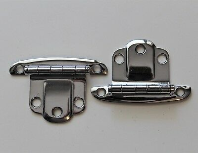 """2 Vtg mid century New Old Stock Stanley """"wing"""" style chrome cabinet door hinges"""