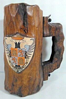 """Hand Carved Wood Wooden Beer Stein Mug W/ Shield, Handle 7"""" Tall Free Shipping!"""