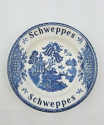 Vintage Schweppes Advertising Tip Plate Wedgwood Blue Willow Enoch England