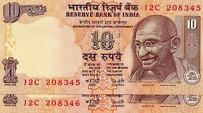 INDIA 10 Rupees 2007 P95c Letter A x 2 Consecutive UNC Banknotes