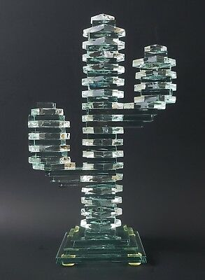 Stacked Glass Saguaro Cactus Green 3 Armed Cactus Southwestern