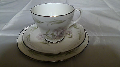 Royal Sutherland China Pink Carnation Trio Teacup, Tea Cup Saucer, Side Plate