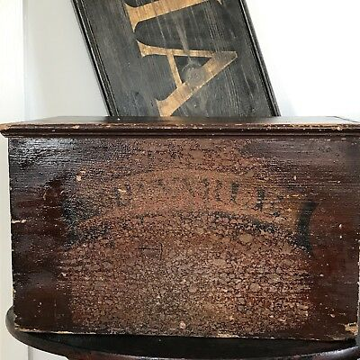 Antique Late 19th Century Large Apothecary Wooden Box With Original Sign Writing