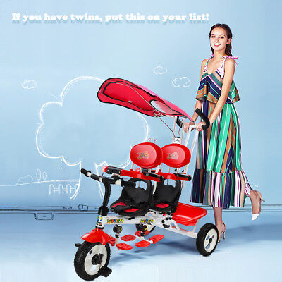 4 In 1 Twin Kid Baby Toddler ride on Toy Trike  Rotatable Seat Stroller Tricycle