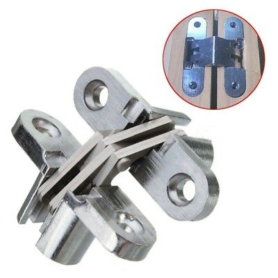 2PCS Hidden Hinge Stainless Steel Invisible Hinges Concealed Barrel Wooden S7H8