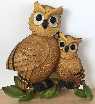 Vintage 70s Large Retro Hard Plastic Pair of Brown OWLS Wall Hanging Art Decor
