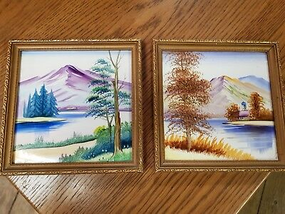 Vintage Japanese Hand Painted Art Tiles 1950s Framed 6 inch Pair