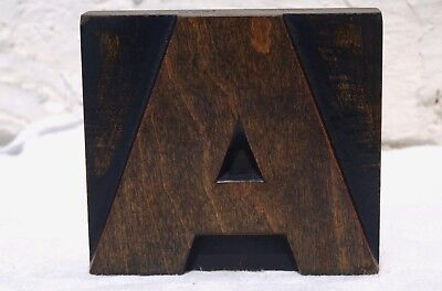 "DeLITTLE ""A"" 85mm LETTER WOOD WOODEN PRINTING BLOCK LETTERPRESS - BOLD"