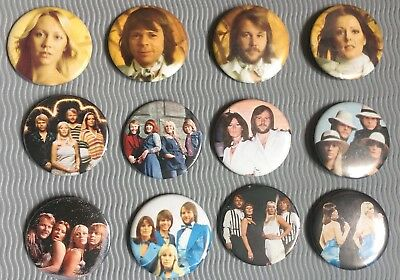 Vtg Original 1970s Abba Button Pin Badges Set Of 12 55mm Eurovision Pop Retro