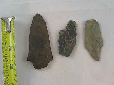Lot Of 3  Native American Arrowheads Artifacts