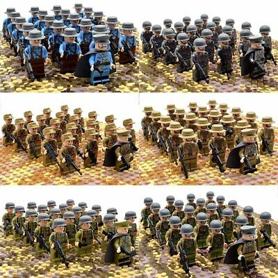 21Pcs/set WW2 Military Soldiers France US Britain Italy Army +  Weapon For Lego