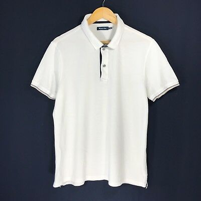 7c6890ea Men's Massimo Dutti Polo Shirt Casual Shirt White Cotton Size M - L