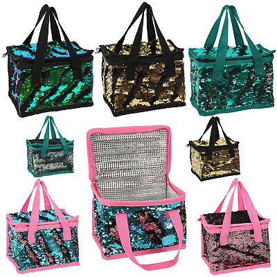 Unicorn Mermaid Lunch Box Designer Reversible Colourful Sparkle Sequin Cool Bag