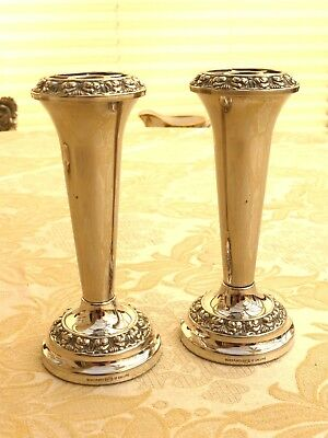 Pair Of Vintage Silver Plated Floral Repousse Tapered Rose Bud Vases 1360466/470