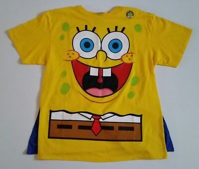 SpongeBob SquarePants Glow In The Dark T-Shirt With Cape! New W/Orig. Sticker!