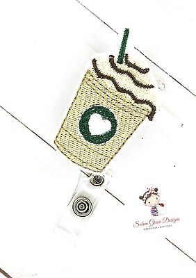 Custom made Coffee Latte ID Badge reel* Embroidered * FREE Shipping