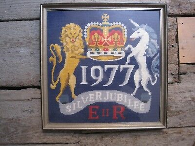 Queen's Silver Jubilee 1977 Embroidery Cross Stitch Sample