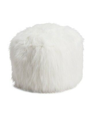 White 20in Faux Angora Fur Pouf Ottoman With Zippered Cover 59 00 Picclick