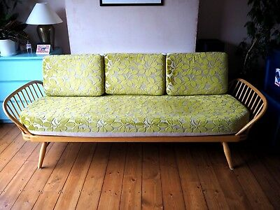 Retro Vintage ERCOL STUDIO COUCH SOFA DAY BED Refurbished with Designer Guild