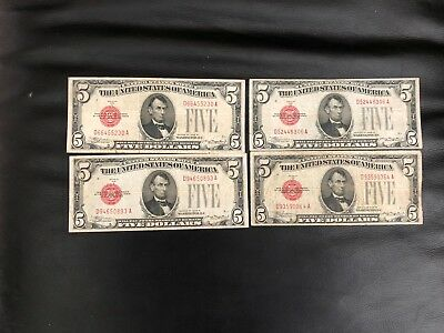 1928 B $5 Legal Tender Fr. 1527, Non-Mule - Lot Of Four, Fine Condition