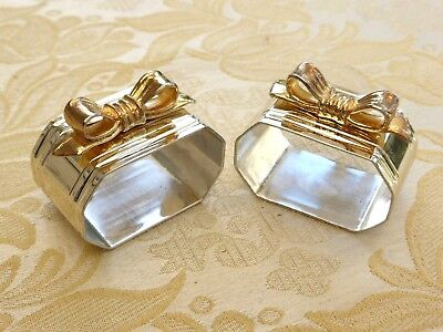 Pair Of 6 Sided Silver Plated Napkin Rings With Gold Coloured Bows   1310714/718