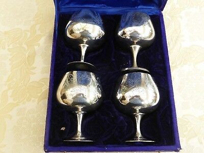 Cased Set Of Four Vintage Silver Plated Engraved Brandy Balloons   1350979/982