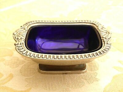 Vintage Silver Plated Salt Pot With Gadroon Edge & Raised Base  1360363/366