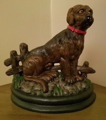 Cast Iron Hand Painted Dog with Fence Doorstop