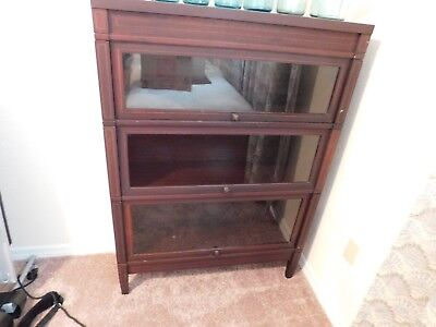 Antique Globe-Wernicke Mission Mahogany Barrister, Lawyer,stacking Bookcase