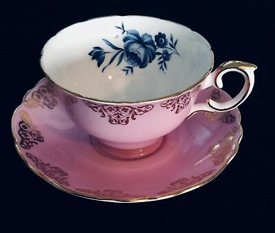 Crown Staffordshire, Teacup and Saucer, Pink & Blue Tea Cup England (1551).