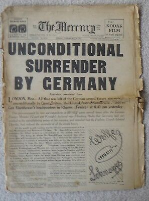 "Vintage May 8 1945 ""the Mercury"" Newspaper""unconditional Surrender By Germany"""