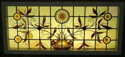 LARGE OLD ENGLISH LEAD STAINED GLASS WINDOW 1870s Victorian Beauty 40.75 x 18.25