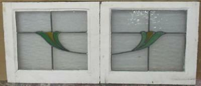 "PAIR OF OLD ENGLISH STAINED GLASS WINDOWS Pretty, Neat Florals 21"" x 18.25"""