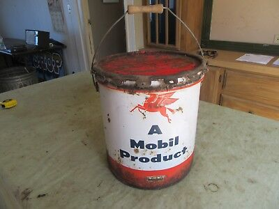 Vintage 5 Gallon Mobil Grease Oil Can Pegasus   Lot 18-22-3-A