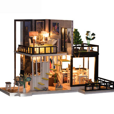 DIY Doll House Wooden Miniature dollhouse With Furniture Kit Villa LED Lights K2