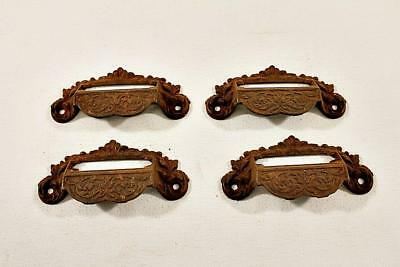 Antique Victorian Eastlake Drawer Bin Pulls w Label Spaces Cast Iron Lot of 4