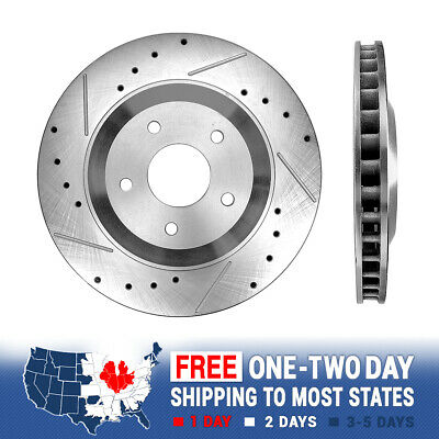 2 FRONTS Black Hart *DRILLED /& SLOTTED* Disc Brake Rotors F1589