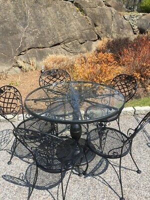 "Woodard ""Chantilly Rose"" Wrought Iron glass top table & 5 chairs - Black"
