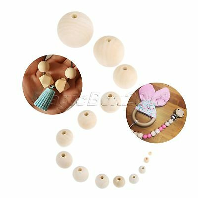14 Size Round Spacer Beads Natural Unpainted Wooden Ball Beads DIY Craft Jewelry