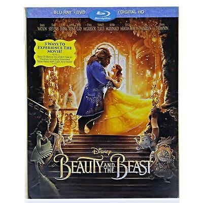 Disney Beauty and the Beast (Blu-ray + DVD + Digital HD) w/ Slipcover NEW