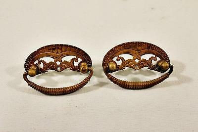 Pair of Eastlake Antique Cast Brass Victorian Period Drawer Pulls