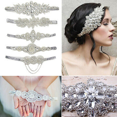 Silver Headband Rhinestone Pearls 1920s Great Gatsby Flapper Tassels Headpiece