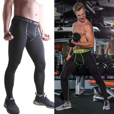 New Mens Compression Pants Tights Workout Base Layers Skins Fitness Under AU