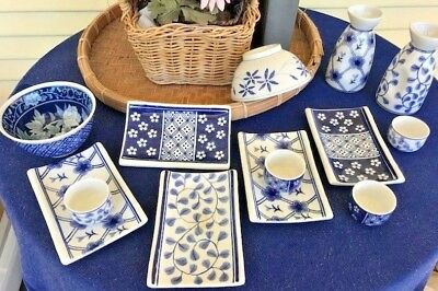 """""""A Sushi and Saki Set""""  with Rice Bowls and Cups, Asian Style Blue w White,"""