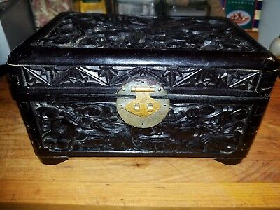 Antique Highly Carved Small Black Oriental Camphor Treasure Box