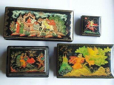 4 SIGNED Hand painted RUSSIAN Black LACQUERED Boxes