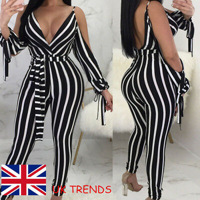 UK Summer Womens Holiday Striped Playsuit Ladies Jumpsuit Beach Long Pants