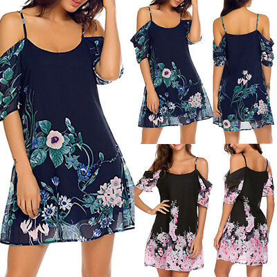 Women's Holiday Floral Sun Dresses Ladies Off Shoulder Summer Beach Dress Tops